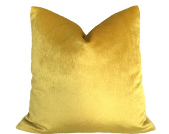 "Light Mustard Yellow Velvet Pillow Cover, Fits 12x18 12x24 14x20 16x26 16"" 18"" 20"" 22"" 24"" Cushion Inserts"