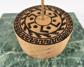 Cherry wood incense stick holder with Greek key designs, one round laser engraved wooden holder for incense