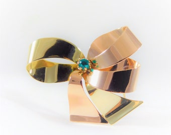 Vintage 14k Gold Bow Brooch with Natural Emerald