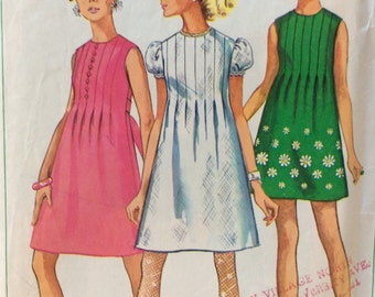 Simplicity 7633 misses dress size 12 bust 34 vintage 1960's sewing pattern