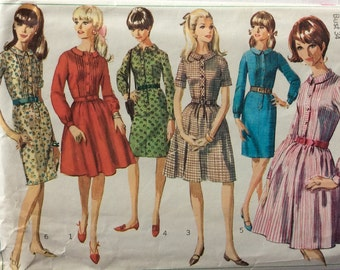 Simplicity 6833 vintage 1960's misses shirtwaist dress w/two skirts sewing pattern size 14 bust 34
