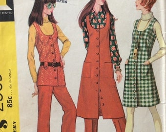 McCall's 2569 misses jumper or vest and pants size 14 bust 36 vintage 1970's sewing pattern Uncut  Factory folds