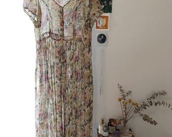 Vintage Floral Crepe Silk Dress