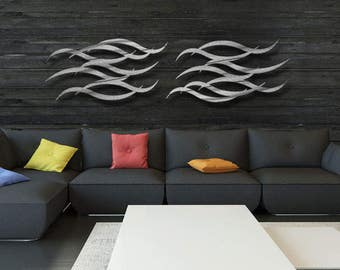 "Contemporary Metal Wall Art Sculpture Silver - ""Current"" by Dustin Miller"