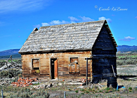 ABANDONED FARM HOUSE~ Utah Plains~Landscape Photography~Country and Rustic Wall Art~Color or Black and White Image ~Mountain Backdrop ~ UT1