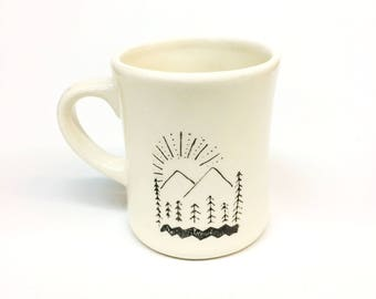 Twin Peaks Damn Fine Cup Of Coffee diner style ceramic coffee or tea mug