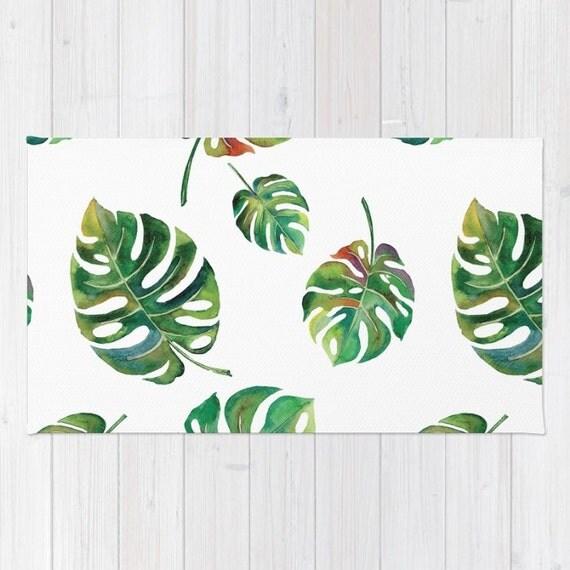 palm leaf area rug tropical green 2x3 rug modern botanical rug. Black Bedroom Furniture Sets. Home Design Ideas