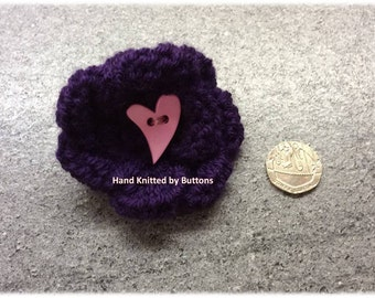 Knitted Brooch, Brooch, Safety roll clasp, Knitted flower, Heart, Valentine brooch, Knitted flower brooch,  Deep purple, Coat accessory,