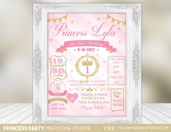 Princess Birthday Poster | 1st Year Milestone Birthday Chalkboard Poster | First Birthday Board Printable Poster