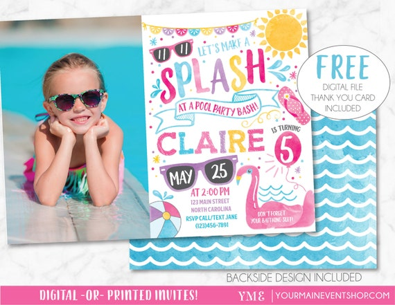 Pool Party Invitation, Pool Party Birthday Invite, Summer Pool Party Bash Printable Invitation Photo, Swimming Party, Flamingo, Watercolor