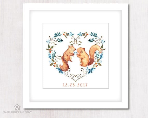 Watercolour Digital Wall Art , Home Wall Decor, Watercolor Painting- Hand Painted- Squirrels, Heart Shape Wreath Wall Art Printables