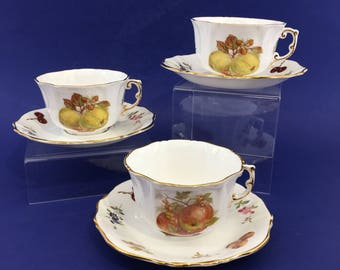 1 of 3 Hammersley Spode Bone China Tea Cups and Saucer England Nut Fruit