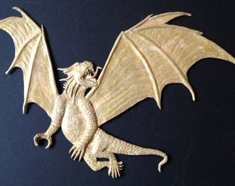 Bas relief sculpted Dragon wall art