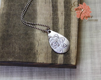READY TO SHIP - Moroccan Flower Drop Necklace, Fine Silver and Sterling Silver, Precious Metal Clay, Medallion Floral Pendant