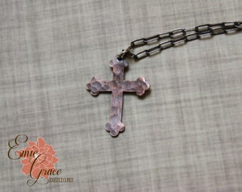READY TO SHIP - Copper Hammered Cross Necklace, Rustic Cross
