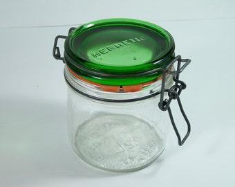 Italian green glass jar Hermetic vintage Made in Italy