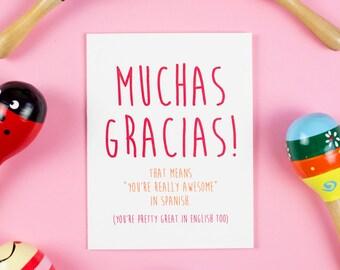 Muchas Gracias Card, Thank You, Thanks