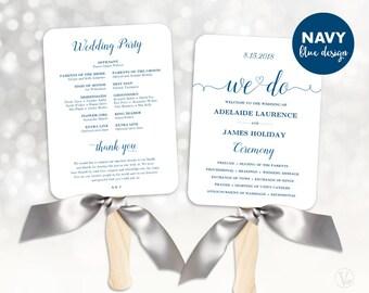 Wedding Fans, Navy Blue Wedding Program Template, Fan Wedding Program, DIY Wedding Programs, Cheap Program, Editable Text, We Do VW03