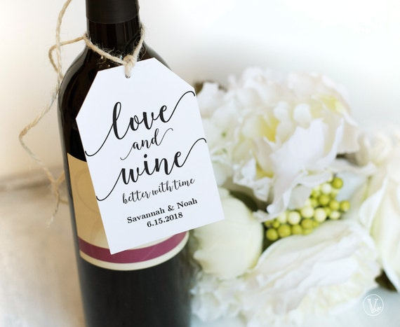Wedding Gift Wine Tags Printable : Wine Tags, Printable Wedding Favor Tags Template, Love and Wine Favor ...