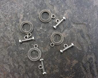 Silver Toggle Clasps with double sided beaded  pattern package of 4 clasps 15 x 17mm