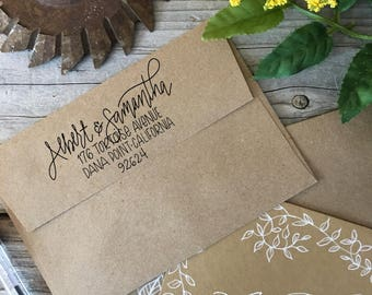 Custom, Hand Lettered, Return Address, Rubber Stamp, Modern Calligraphy Wood Stamp, ECLECTIC Stamp