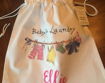 Baby's Laundry Bag Personalized/ Unique Baby Shower Gift/Drawstring Bag