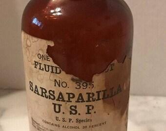 Large Antique Bottle Sarsaparilla USP Pharmacy Medicine No. 395