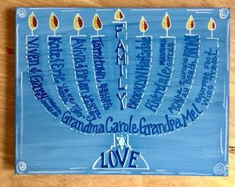 Hanukkah and Christmas Painting; menorah, Christmas tree; personalized