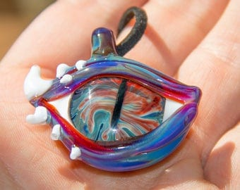 Glass Eye Pendant -  Blown Glass Necklace - Blown Glass Eye Jewelry - Mens Pendant - Guys Pendant - Trippy Eye Pendant - Heady Eye Pendant