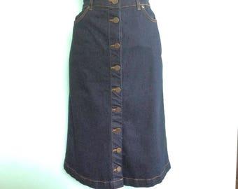 50s Style Rockabilly Blue Denim Skirt - Size 10