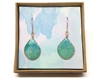 Green & Blue Teardrop Resin Earrings, Geometric, Handmade with Copper Findings and Ear Wires, Unique and OOAK