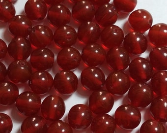 10pcs Red Czech Glass Beads - 8mm Beads - Round Beads - GB295