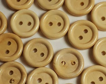 25pcs Light Wood Buttons - Wooden Buttons - 15mm Buttons - Sewing Buttons - 2 Hole Buttons - Natural Wood Buttons -  B60147