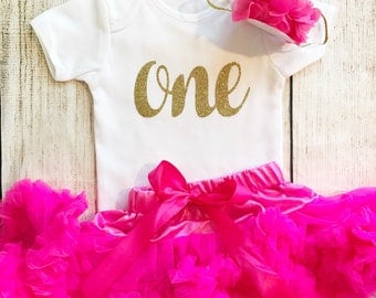 Hot Pink & Gold First Birthday Tutu Outfit, Glitter Number Onesie, Matching Party Hat Baby Girl, 1st Cake Smash Photo Prop Vest