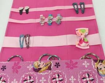 Frozen Hair organizer, Travel Organizer, Roll-up Organizer, FROZEN roll up caddy, Hair Organizer , Hair Bow Holder, easy to carry hair clip