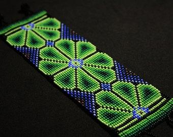 Beaded Huichol Bracelet, Beaded Native Bracelet, Native American Beaded Bracelet, Peyote Bracelet, Greens and Violets, Cuff Bracelet