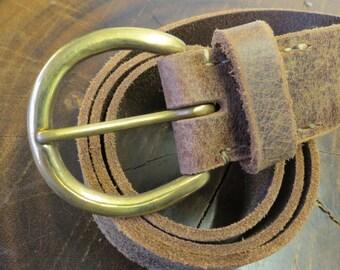 "Belt, Buffalo Belt, 1 1/2"" Belt, Leather Belt, Brass Buckle Belt"