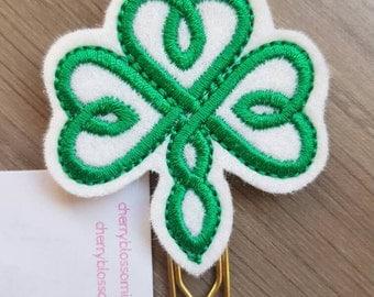 Celtic Knot Heart Shamrock Green Clover St Patrick's Paper Clip
