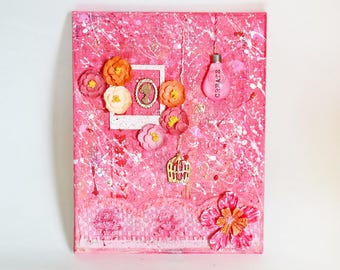 "Mixed Media Floral Canvas Art 8""X10"" - Create"