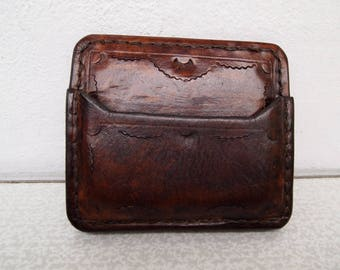 vegetable tanned leather card and money holder