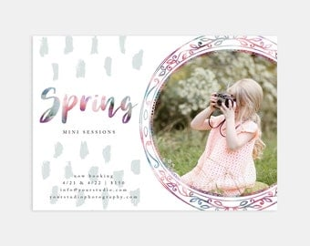 Watercolor Frame Spring Mini Session Marketing Template for Photographers - 7x5 Size - for Blogs Facebook Instagram Pinterest Print Flyers