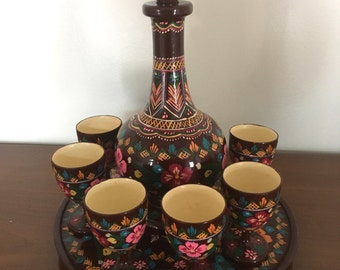Vintage Wooden Ukrainian Art Hand-Painted Decanter Set with 6 Goblets and Plate 1970s M725