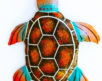 Turtle Metal of Art carved wall decorative Haiti • Creation of creator of Art • sale Caritative quoted Sun Haiti children