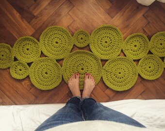 Crochet Circle Rug . Pear Green | Crochet Rug | Modern Design | Cotton Carpet | Rug Runner | Handmade Rug | Round Rug
