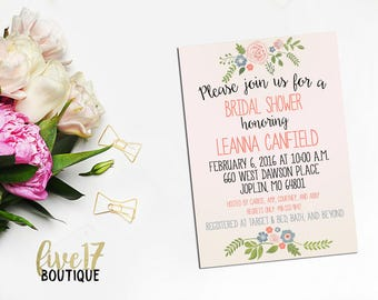 Bridal Shower Invitation | Blue and Coral Floral | Personalized | Digital