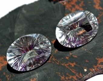 1 Pair Natural Rock Crystal Quartz Concave Cut Oval Briolette Size 20x15mm Approx