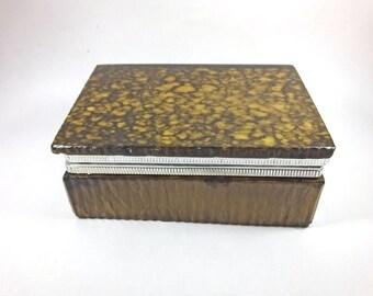 Vintage brown resin celluloid cigarette trinket hinged box mottled