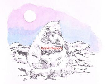 Pen drawing cuddling polar bears