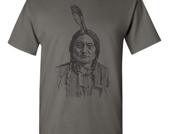 Sitting Bull Indian Native American Chief Honor Men's Tee Shirt 1597