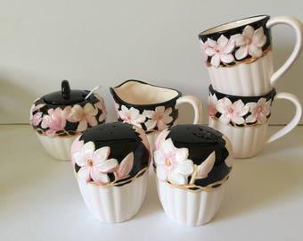 Vintage Otagiri Japan Magnolia Ceramics...Mary Ann Baker Designs..Otagiri Handcrafted / Handpainted Sugar..Creamer..Salt..Pepper..Mugs..